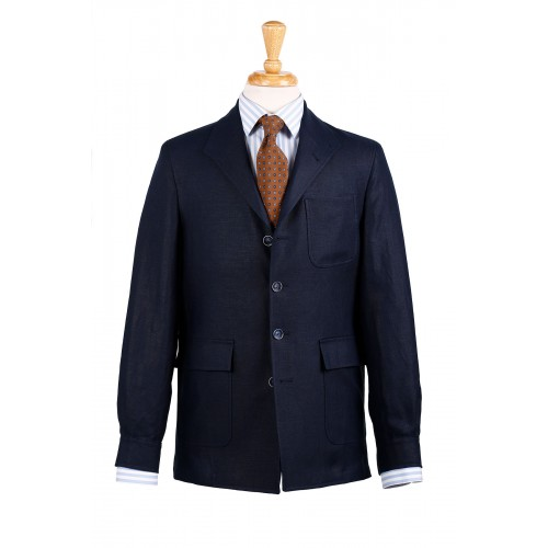 Darcy teba jacket in navy Irish linen.  Classic cut.