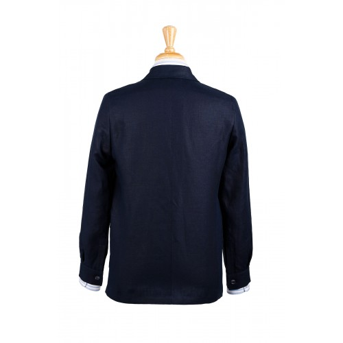 Rear view of our Darcy teba jacket in navy Irish linen.  Classic cut.  No vents.