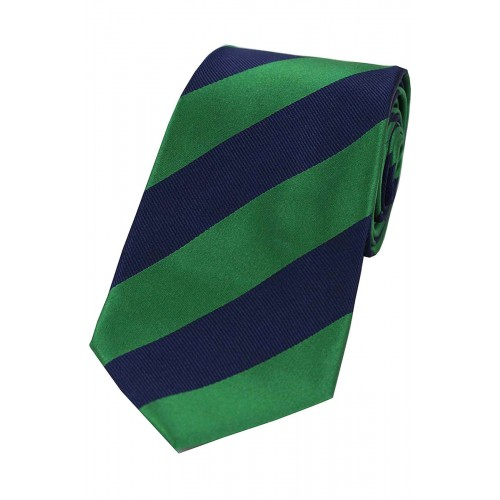 Green and navy club stripe tie in 100% woven silk.