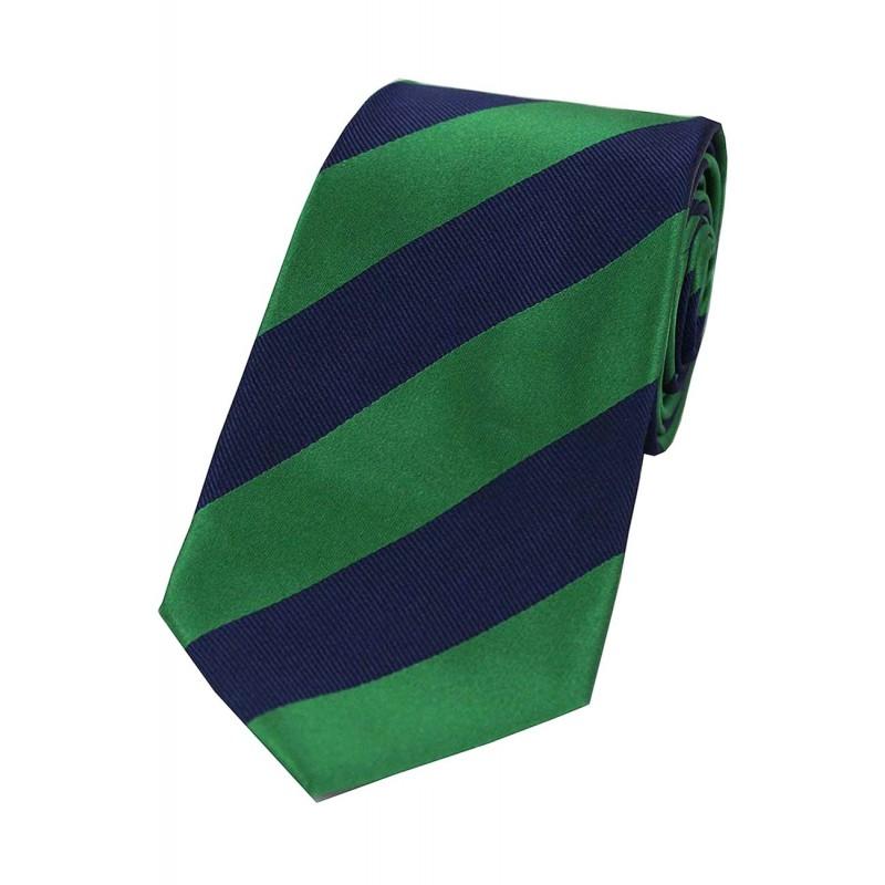 Corbata de seda de rayas verde y marino