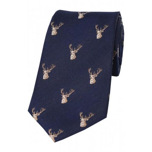 Corbata de seda marino con dibujo de cabeza de ciervo.