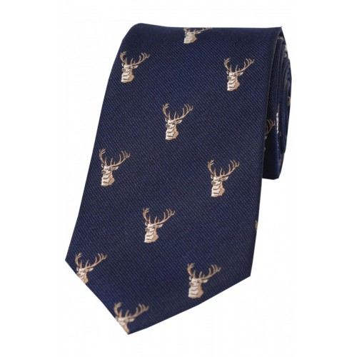 Woven silk tie in navy with stag head design