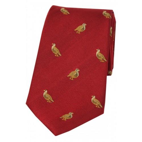 Corbata de seda color burdeos con aves de caza