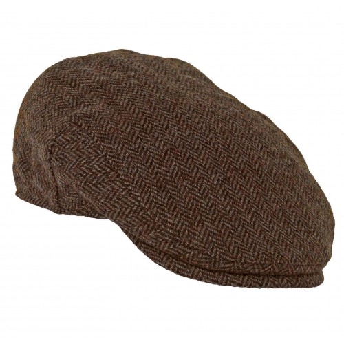 Chapman cap in chocolate herringbone