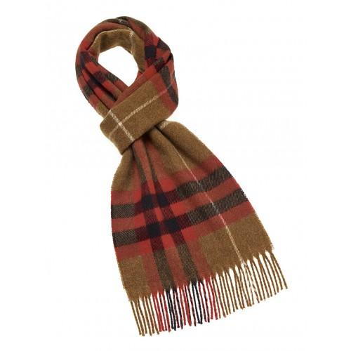 Bufanda de lana merino en tonos camel y rojo.