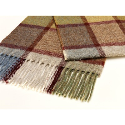 Soft merino wool scarf in windowpane check in autumn tones.