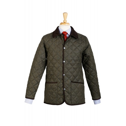 Chaqueta husky Barney confeccionada en tweed de espiga verde