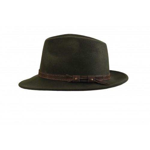 Sombrero indeformable Grove en verde con cinta de ante.