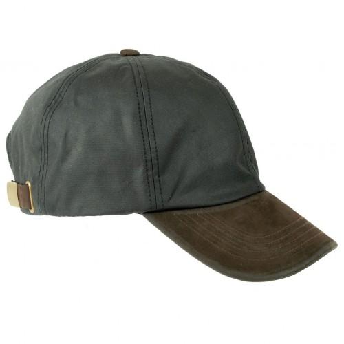 Black wax cotton cap with genuine leather peak