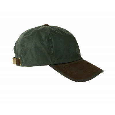 Gorra de baseball en algodón encerado color oliva.  Visera de nubuck.