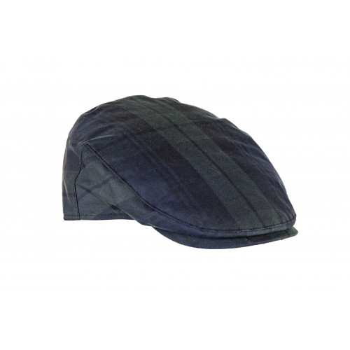 Charles waxed cotton cap in Black Watch tartan.