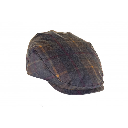 CHARLES - wax cotton country cap in Hunter tartan.