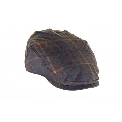 CHARLES- gorra de algodón encerado en tartan Hunter.