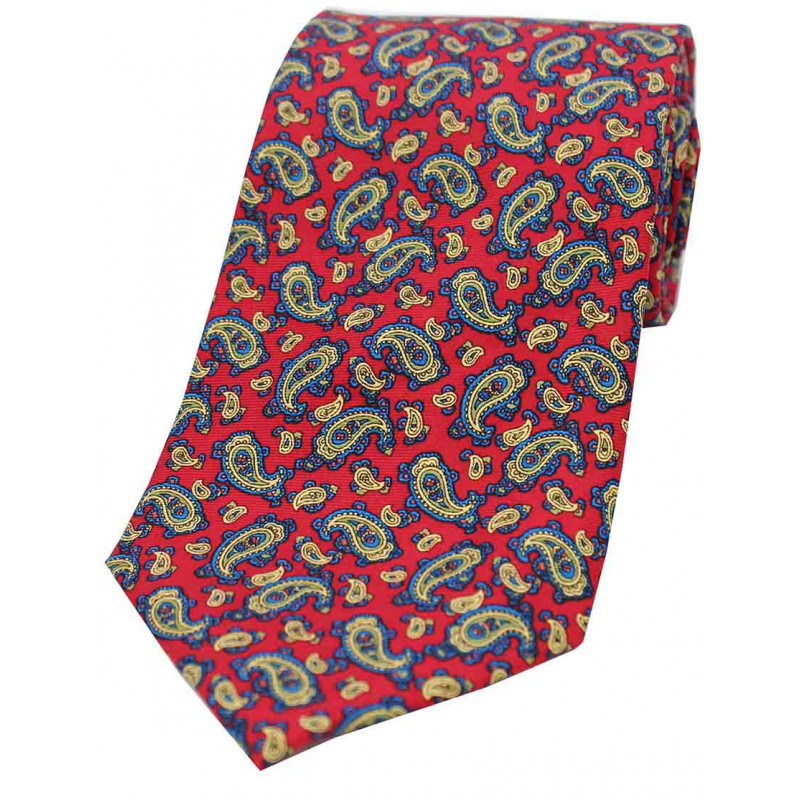 Corbata Seda Paisley Rojo