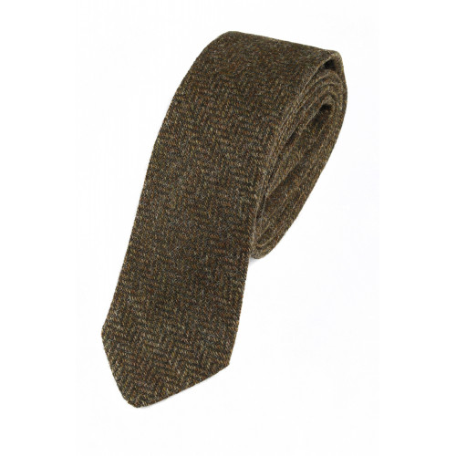 Lambswool tie Green Herringbone