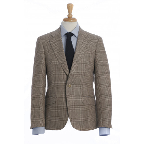 JOSEPH - a most elegant shorter blazer in premium Irish linen.  Classic brown Prince of Wales design.