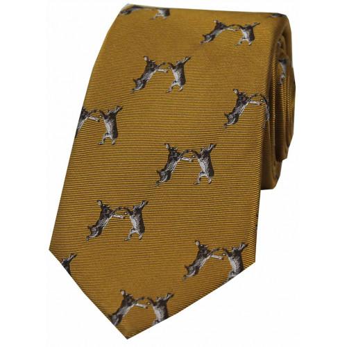 Woven Silk Tie Fighting Hares