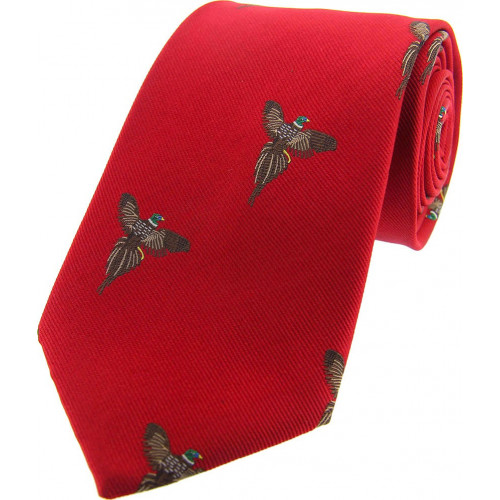 Woven Silk Tie  Pheasants