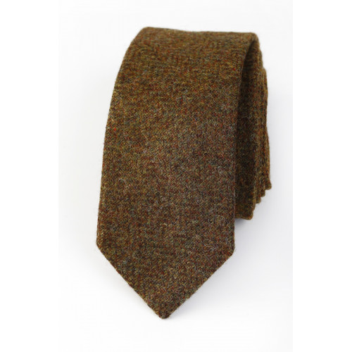 Lambswool tie Brown/Green Herringbone