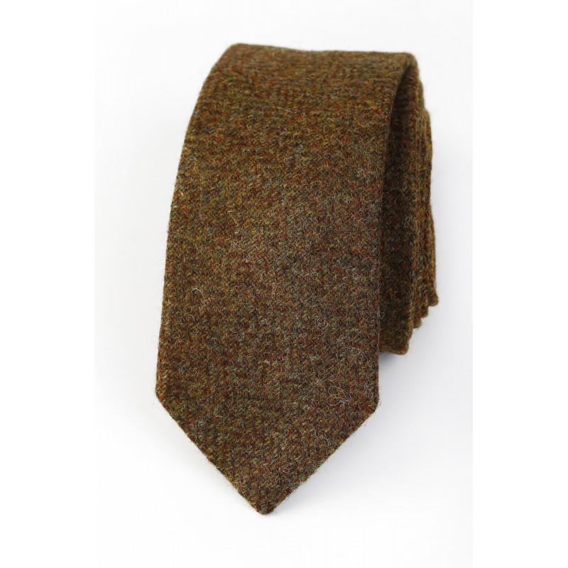 Lambswool tie Brown/Green Herringbone