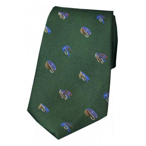 Woven Green  Silk Tie Fly
