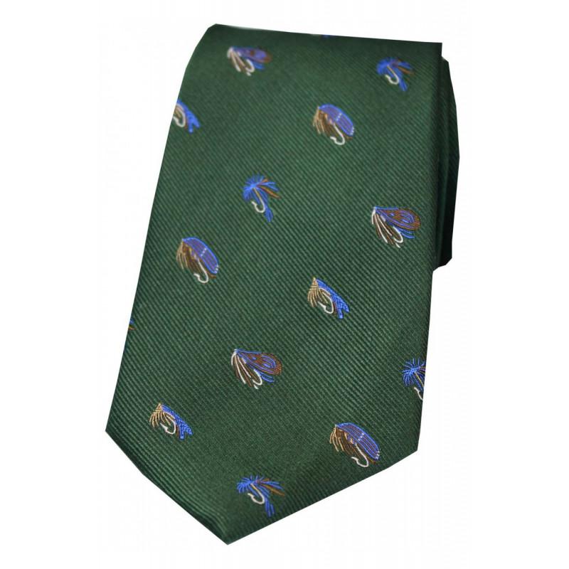 Corbata Seda Moscas Verde