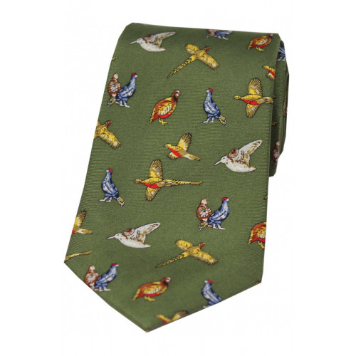 Printed Silk Tie Country Birds