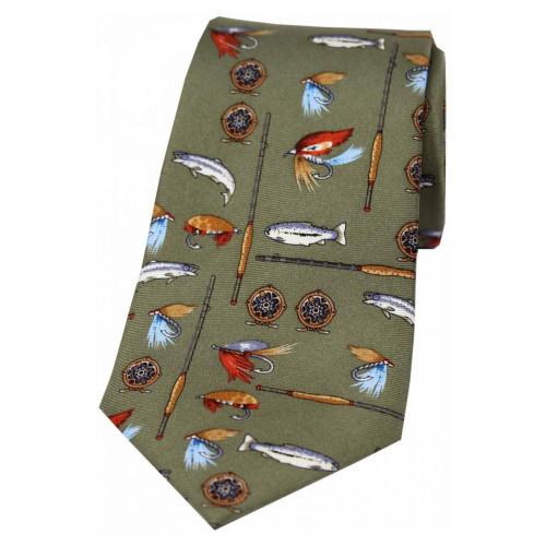 Printed Silk Tie Angling